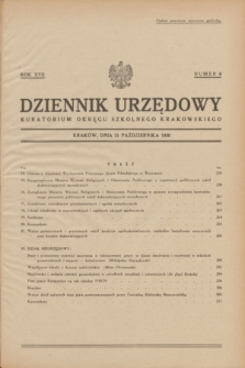 Dziennik Urzędowy Kuratorjum Okręgu Szkolnego Krakowskiego. R.17, nr 8 (31 października 1938)