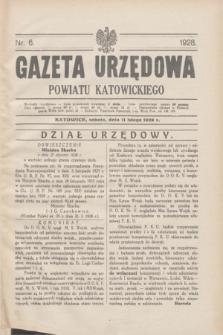 Gazeta Urzędowa Powiatu Katowickiego. 1928, nr 6 (11 lutego)