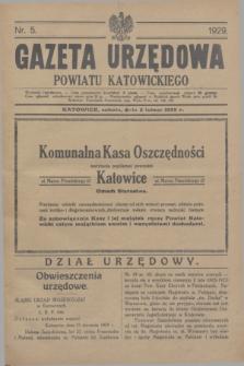 Gazeta Urzędowa Powiatu Katowickiego. 1929, nr 5 (2 lutego)