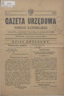 Gazeta Urzędowa Powiatu Katowickiego. 1930, nr 1 (4 stycznia 1929)