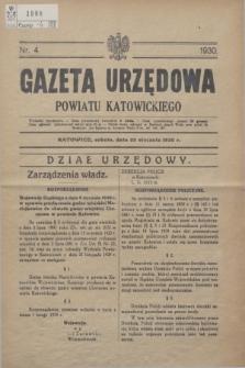 Gazeta Urzędowa Powiatu Katowickiego. 1930, nr 4 (25 stycznia)