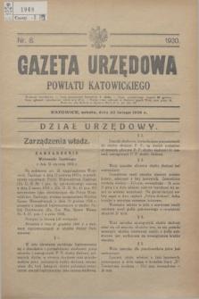Gazeta Urzędowa Powiatu Katowickiego. 1930, nr 8 (22 lutego)