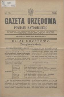 Gazeta Urzędowa Powiatu Katowickiego. 1930, nr 10 (8 marca)