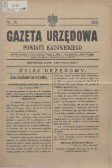 Gazeta Urzędowa Powiatu Katowickiego. 1930, nr 18 (2 maja)