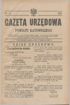 Gazeta Urzędowa Powiatu Katowickiego. 1931, nr 3 (17 stycznia)