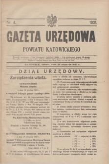 Gazeta Urzędowa Powiatu Katowickiego. 1931, nr 4 (24 stycznia)