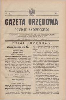 Gazeta Urzędowa Powiatu Katowickiego. 1931, nr 20 (16 maja)