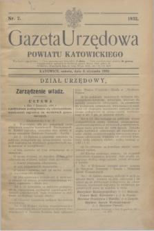 Gazeta Urzędowa Powiatu Katowickiego. 1932, nr 2 (9 stycznia)