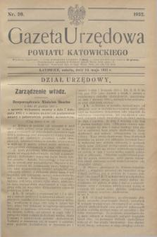 Gazeta Urzędowa Powiatu Katowickiego. 1932, nr 20 (14 maja)