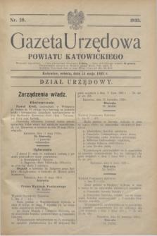 Gazeta Urzędowa Powiatu Katowickiego. 1933, nr 20 (13 maja)
