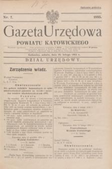 Gazeta Urzędowa Powiatu Katowickiego. 1935, nr 7 (16 lutego)