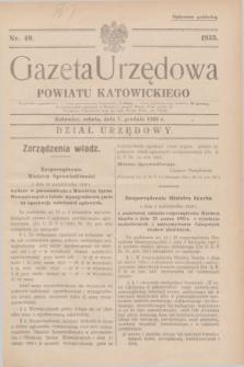 Gazeta Urzędowa Powiatu Katowickiego. 1935, nr 49 (7 grudnia)