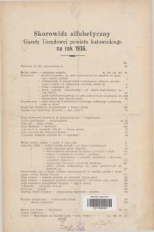 Gazeta Urzędowa Powiatu Katowickiego. 1936, Skorowidz alfabetyczny Gazety Urzędowej Powiatu Katowickiego na rok 1936
