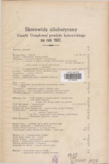 Gazeta Urzędowa Powiatu Katowickiego. 1937, Skorowidz alfabetyczny Gazety Urzędowej Powiatu Katowickiego na rok 1937