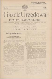 Gazeta Urzędowa Powiatu Katowickiego. 1937, nr 3 (23 stycznia)