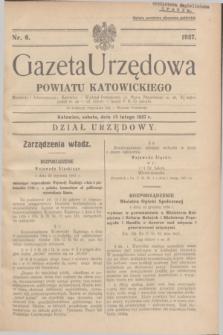 Gazeta Urzędowa Powiatu Katowickiego. 1937, nr 6 (13 lutego)