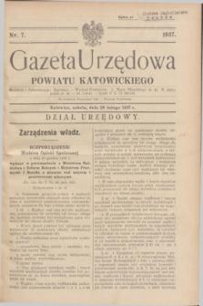 Gazeta Urzędowa Powiatu Katowickiego. 1937, nr 7 (20 lutego)