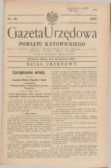 Gazeta Urzędowa Powiatu Katowickiego. 1937, nr 16 (24 kwietnia)