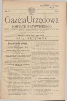 Gazeta Urzędowa Powiatu Katowickiego. 1937, nr 17 (1 maja)
