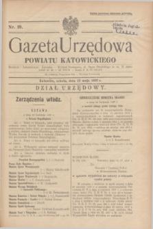 Gazeta Urzędowa Powiatu Katowickiego. 1937, nr 19 (15 maja)