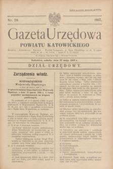 Gazeta Urzędowa Powiatu Katowickiego. 1937, nr 20 (22 maja)
