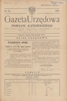 Gazeta Urzędowa Powiatu Katowickiego. 1937, nr 21 (29 maja)