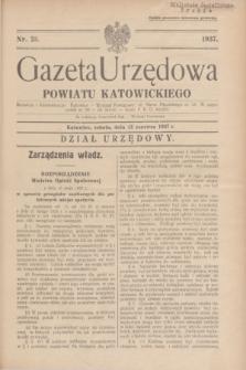 Gazeta Urzędowa Powiatu Katowickiego. 1937, nr 23 (12 czerwca)