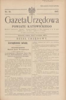 Gazeta Urzędowa Powiatu Katowickiego. 1937, nr 35 (4 września)
