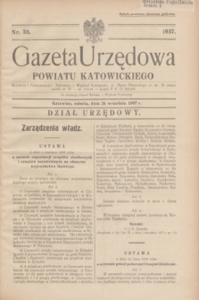 Gazeta Urzędowa Powiatu Katowickiego. 1937, nr 38 (24 września)