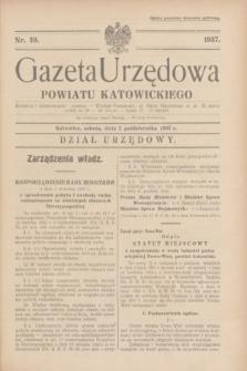 Gazeta Urzędowa Powiatu Katowickiego. 1937, nr 39 (2 października)