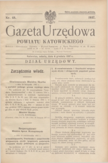 Gazeta Urzędowa Powiatu Katowickiego. 1937, nr 48 (4 grudnia)