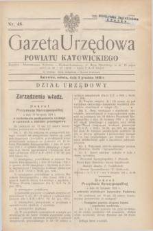Gazeta Urzędowa Powiatu Katowickiego. 1938, nr 48 (3 grudnia)