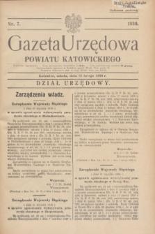 Gazeta Urzędowa Powiatu Katowickiego. 1936, nr 7 (15 lutego)
