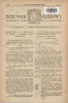 Dziennik Urzędowy Komisarjatu Rządu na M. St. Warszawę. R.1, № 1 (20 kwietnia 1920)
