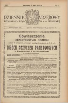 Dziennik Urzędowy Komisarjatu Rządu na M. St. Warszawę. R.1, № 2 (7 maja 1920)