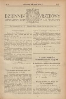 Dziennik Urzędowy Komisarjatu Rządu na M. St. Warszawę. R.1, № 4 (20 maja 1920)