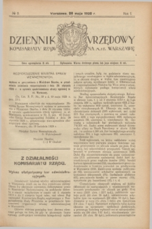 Dziennik Urzędowy Komisarjatu Rządu na M. St. Warszawę. R.1, № 5 (28 maja 1920)