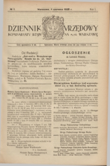 Dziennik Urzędowy Komisarjatu Rządu na M. St. Warszawę. R.1, № 6 (4 czerwca 1920)