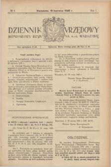 Dziennik Urzędowy Komisarjatu Rządu na M. St. Warszawę. R.1, № 8 (12 czerwca 1920)