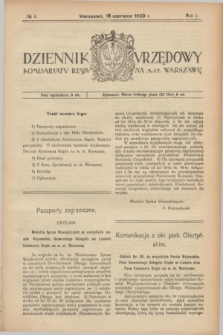 Dziennik Urzędowy Komisarjatu Rządu na M. St. Warszawę. R.1, № 9 (18 czerwca 1920)