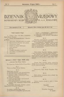 Dziennik Urzędowy Komisarjatu Rządu na M. St. Warszawę. R.1, № 13 (9 lipca 1920)