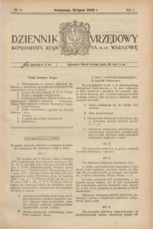 Dziennik Urzędowy Komisarjatu Rządu na M. St. Warszawę. R.1, № 14 (16 lipca 1920)