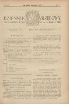 Dziennik Urzędowy Komisarjatu Rządu na M. St. Warszawę. R.1, № 15 (24 lipca 1920)