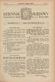 Dziennik Urzędowy Komisarjatu Rządu na M. St. Warszawę. R.1, № 16 (31 lipca 1920)