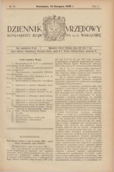 Dziennik Urzędowy Komisarjatu Rządu na M. St. Warszawę. R.1, № 18 (14 sierpnia 1920)
