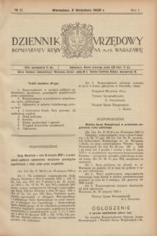Dziennik Urzędowy Komisarjatu Rządu na M. St. Warszawę. R.1, № 21 (4 września 1920)