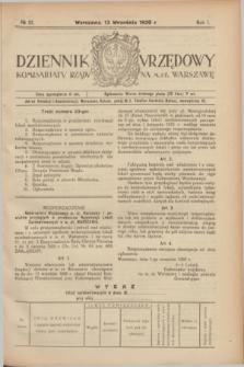 Dziennik Urzędowy Komisarjatu Rządu na M. St. Warszawę. R.1, № 22 (13 września 1920)
