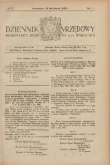 Dziennik Urzędowy Komisarjatu Rządu na M. St. Warszawę. R.1, № 23 (18 września 1920)