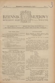 Dziennik Urzędowy Komisarjatu Rządu na M. St. Warszawę. R.1, № 25 (2 października 1920)