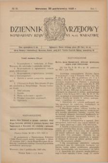 Dziennik Urzędowy Komisarjatu Rządu na M. St. Warszawę. R.1, № 29 (30 października 1920)